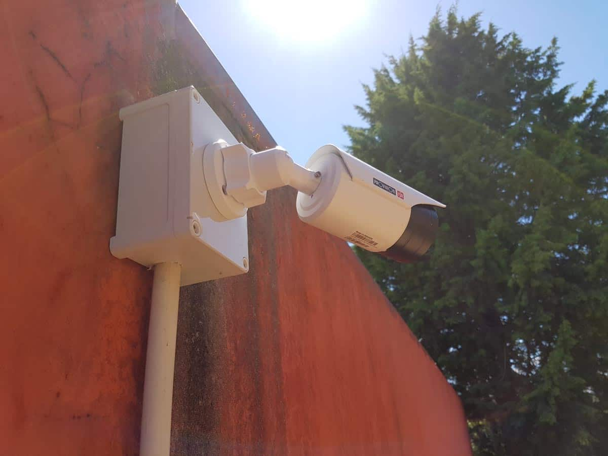 bullet cctv mounted on wall