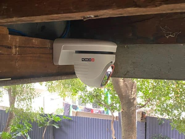 Home security camera installation in richmond backyard provision isr 8 megapixel camera showing one CCTV camera lens type